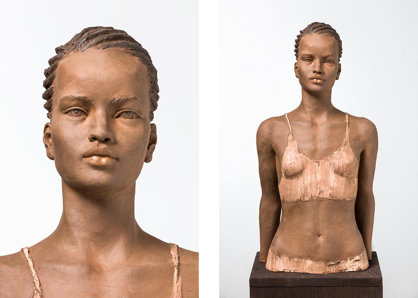 Läuferin, Terrakotta engobiert, 66x32x29 cm, 2015